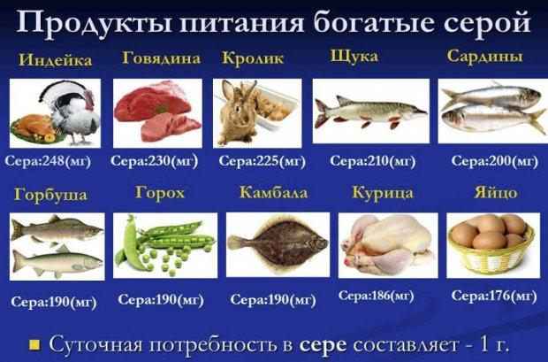 Продукты питания богатые серой