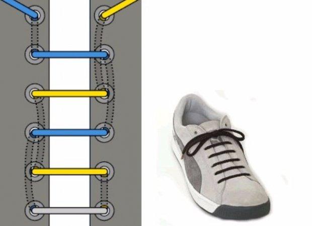 3a8eb359 Для выполнения задачи шнурок сначала необходимо пропустить через нижние  отверстия в ботинках или кроссовках и увести внутрь с обеих сторон.